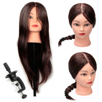 Pro 80% Real Synthetic Long Hair 18 Hairdressing Training Head Practice Mannequin Model With Clamp