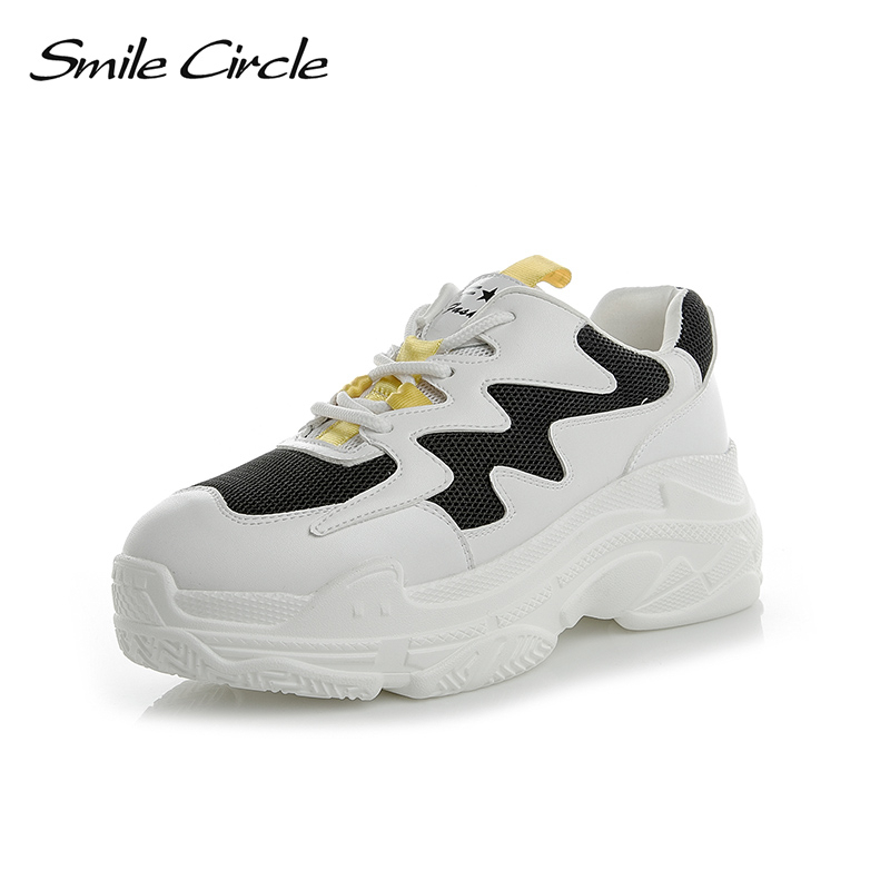 Smile Circle 2019 Spring Women Shoes Genuine Leather Sneakers For Women Fashion Lace up Flat Platform