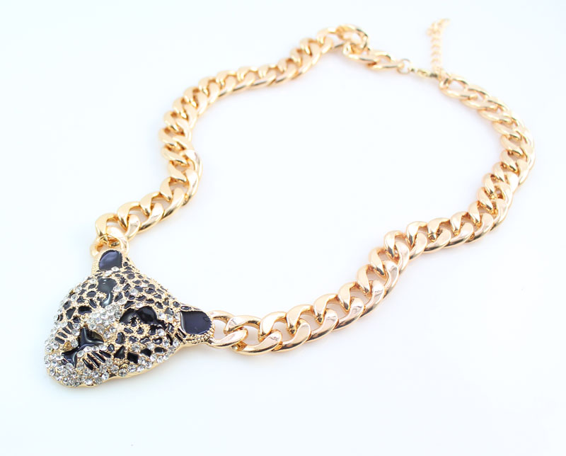 Cool Leopard Head Bracelet Earrings Ring Necklace Set para mujeres - Bisutería - foto 2
