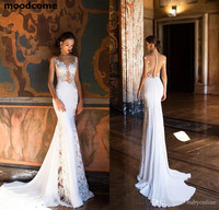 Mermaid Wedding Dresses 2018 Sexy Sheer Neck Open Back Full Lace Wedding Dress Bridal Gowns