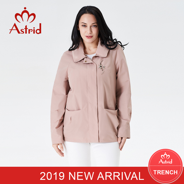 2019 Women Trench Coats New spring Autumn short Plus Size spring coat women Solid color moda muje High Qualit astrid new AS-9117