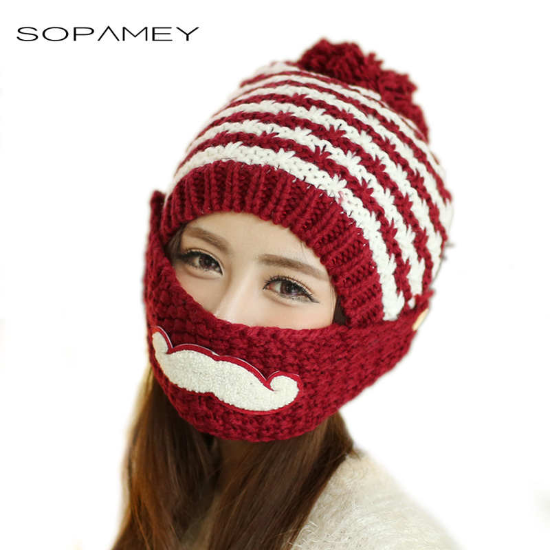 SOPAMEY Winter Woman Hats Warm Knitting cap female Beanies balaclava Mask for the Face Hat for girls Cap with ears Protection silicone masks female with breast beauty woman mask latex mask crossdress female crossdresser mask d cup