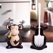 Toilet brush set with base household bathroom for toilet wc accessories no dead angle cleaning creative cartoon monkey