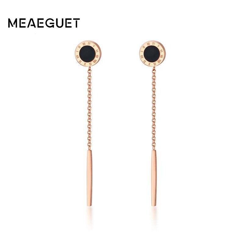 Meaeguet Roman Number Enamel Long Bar Earring For Women Rose Gold Color Stainless Steel Stick Ear Jewelry