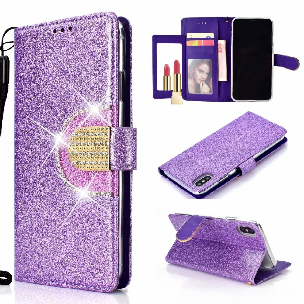 100pcs lot Glitter Luxury Crystal Sparkle Shiny Bling wallet leather cover case For Iphone Xs max