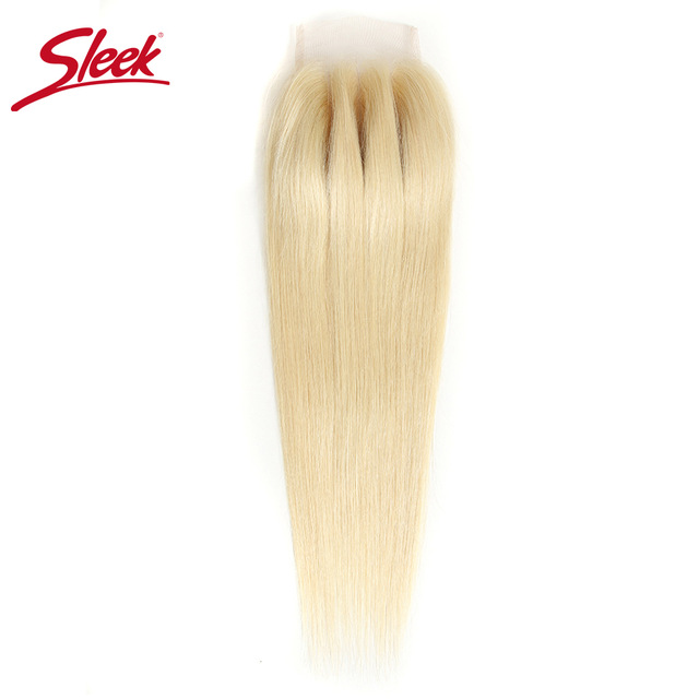 Sleek Remy  Blonde 613 4X4 Lace Closure Free/ Middle /Three Part Peruvian Straight Human Hair Swiss Lace Closure Free Shipping