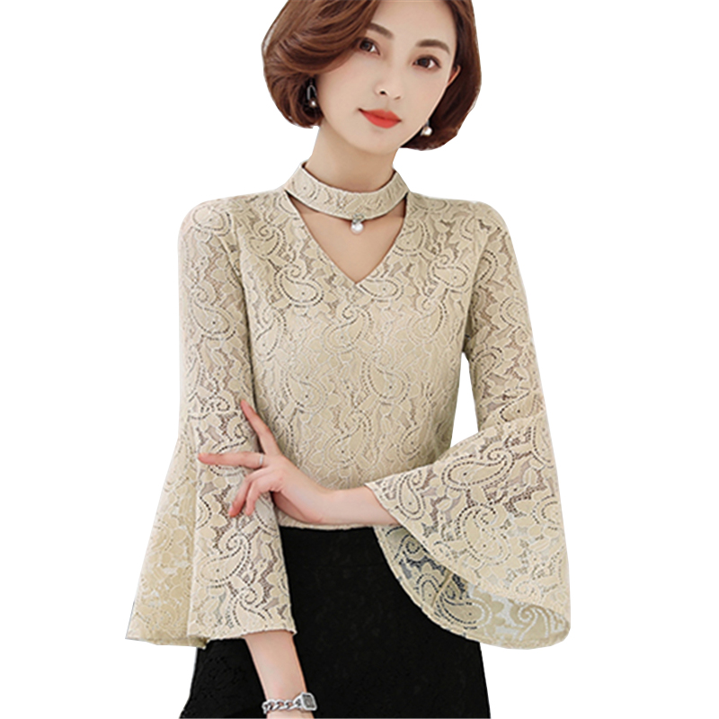 Women's Clothing Women Autumn Blouse 2017 New Flare Sleeve Black White 2 Solid Colors Loose Tops Crochet Casual Polyester Blusas Shirts