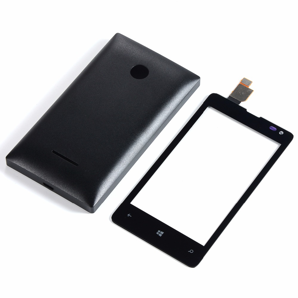For Nokia Microsoft Lumia 435 N435 532 N532 Touch Screen Digitizer Panel Glass+Housing Battery Door Back Cover+Sticker Glue