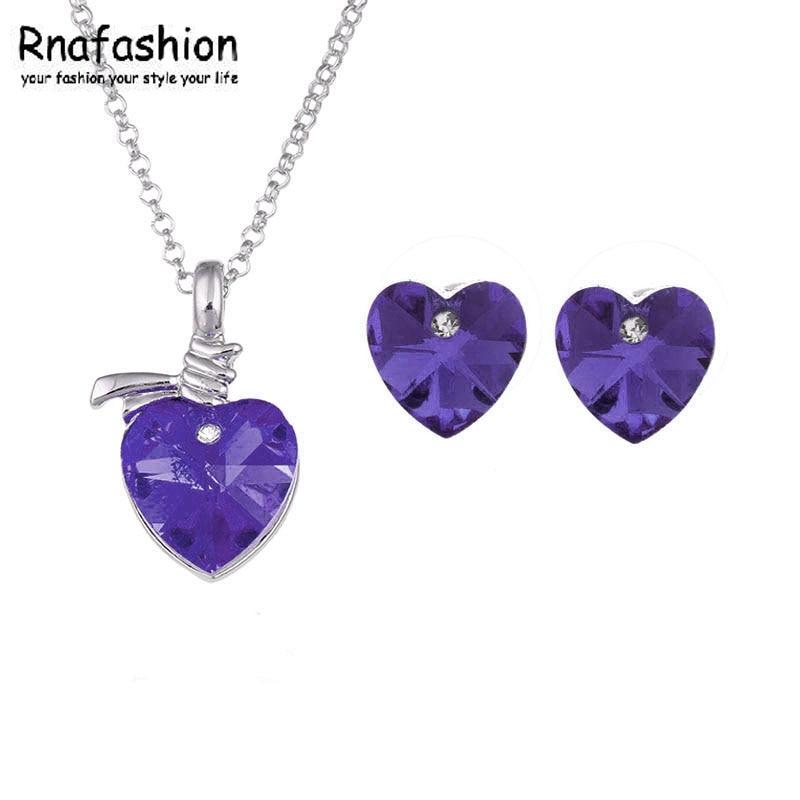 a5501844be71 La joyería de la manera minimalista pendientes de cristal austriaco collar  del corazón del melocotón 018 + 040