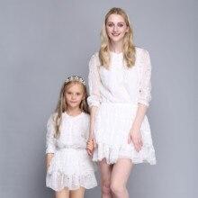 Новые Летние Белый Высокий Класс Мать Дочь Платья Три Четверти Вышивка Лоскутное Торт Платье Семья Одежда AF-1747