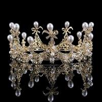 Elegant Rhinestone Big Round Crown Alloy Pearl Crystal Bridal Tiara Hairbands Rhinestones Pageant Prom Crown tiara de noiva