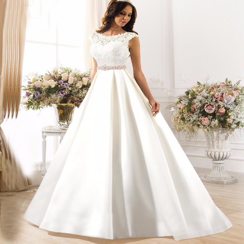 Eightale Boho Wedding Dress with Belt Robe de Mariee White Ivory Satin V Back Bridal Gown