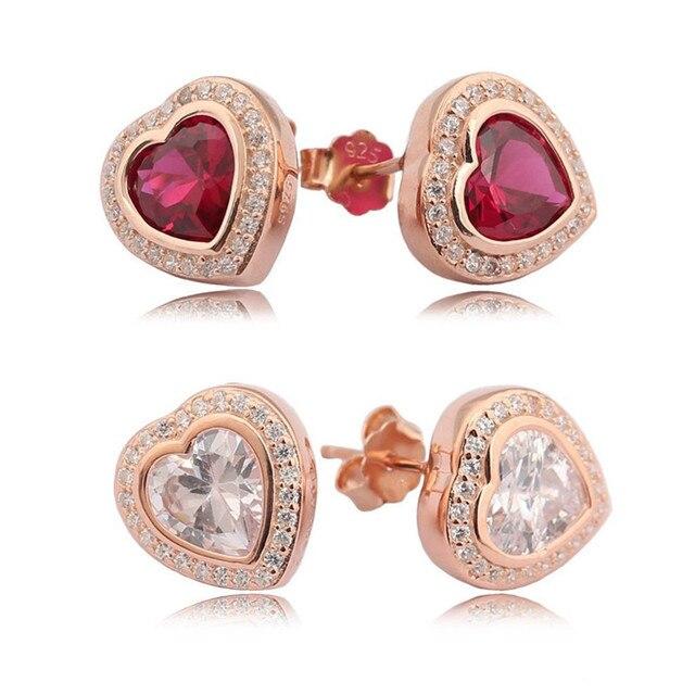 Authentic 925 Sterling Silver Fashion Pandora Earrings For Women Rose Heart  in Heart Earring Studs Fine Europe Jewelry Gift