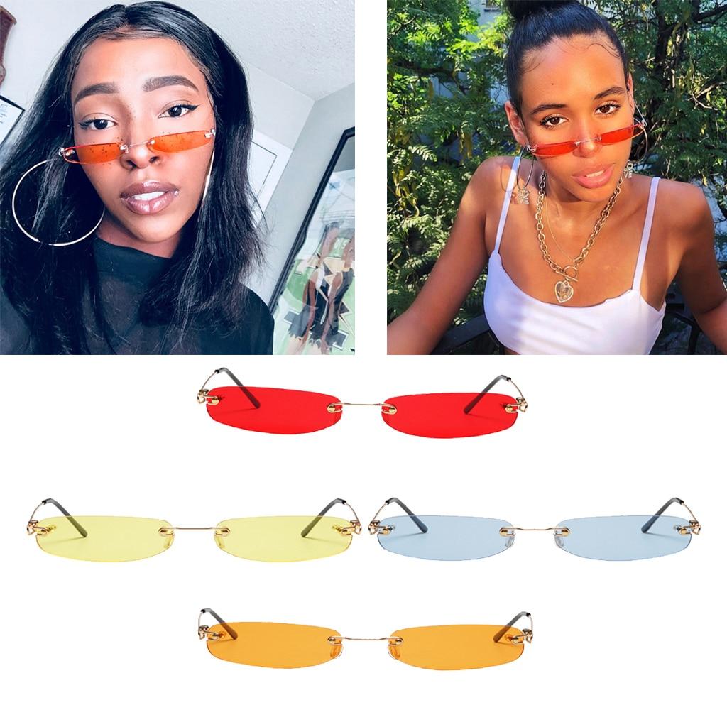 Stylish Small Rimless Sunglasses Men Women Tiny Narrow Frameless Summer Beach Vacation Sun Glasses Shades