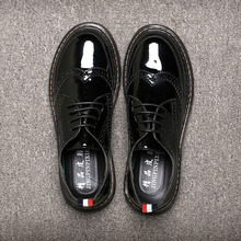 Фотография British Vintage Brogue Carve Men Leather Shoes Mens Lace-up Breathable Casual Martin Shoes Fashion Men Work Shoes Plus Size35-46