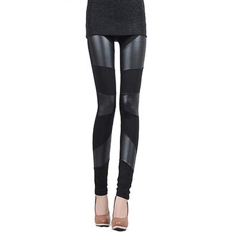 2017 Autumn Winter Sexy Women's High Waist Faux Leather Pants Leather Leggings Warmer Skinny Pants bodysuit