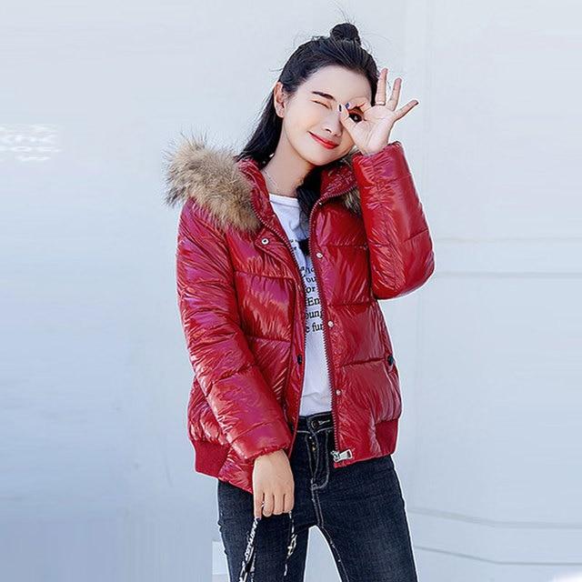 Real Fur Collar Winter Jacket Women Metal Bright Hooded Warm Short Jacket Cotton Padded Parka Women Coat Bomber Streetwear New