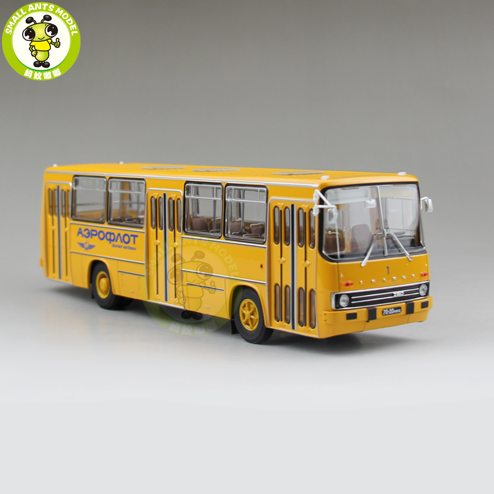 1/43 Classic Ikarus 260 Soviet Union Airlines City Bus Coach Diecast Model Car Bus Kids Children Gift Collection Hobby Yellow 1 43 ankai bus sightseeing tour of london bigbus big bus diecast model bus open top