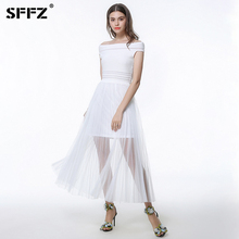 SFFZ 2018 New Spring Women Dresses Solid White Sleeveless Slash Neck Soft High Waist Lace Femme Knitted Dress Casual Clothes