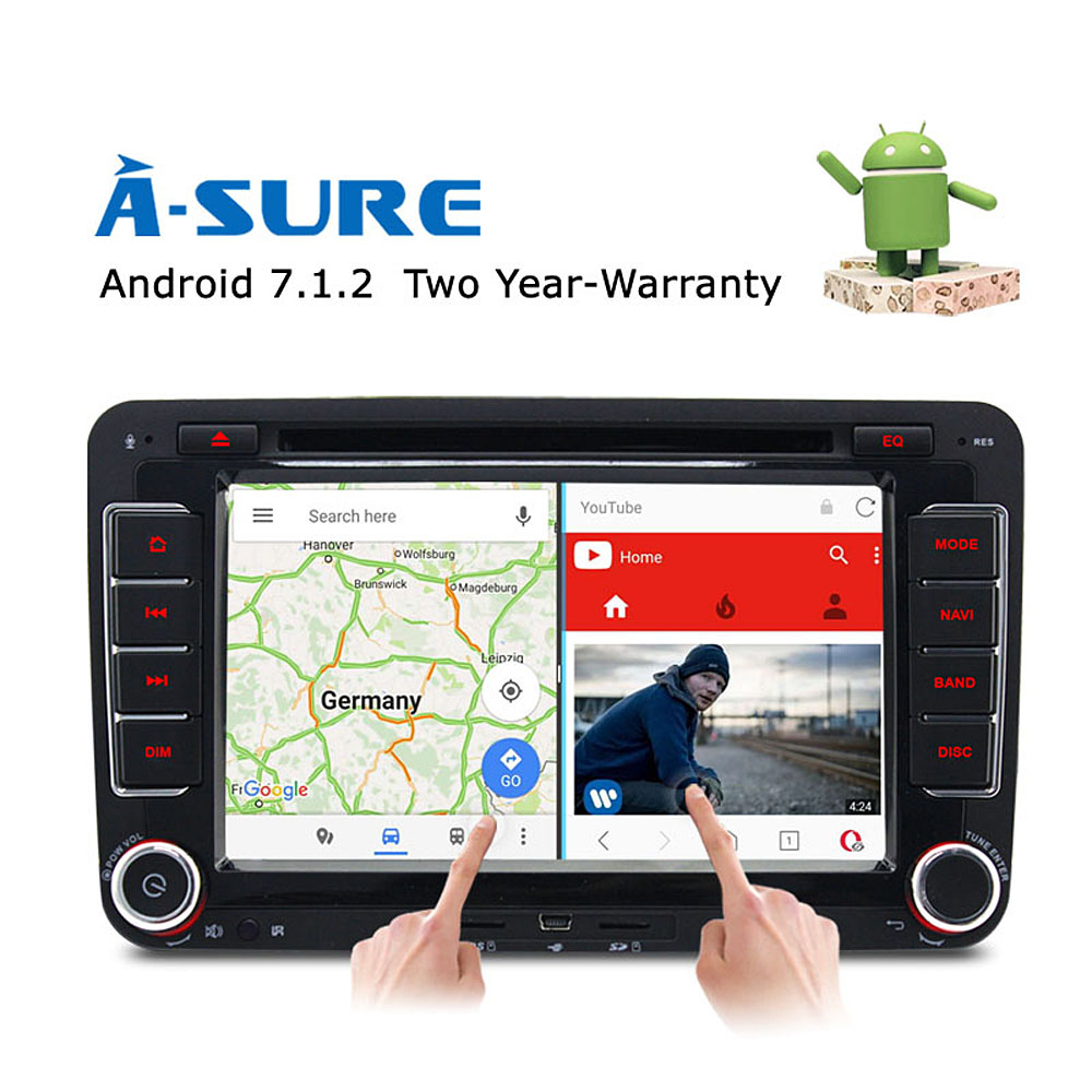 A-Sure 7 Android 7.1 Car DVD player for Volkswagen VW Tiguan Polo Golf 5 6 Passat B6 Jetta Transporter T5 GPS DAB+ Radio