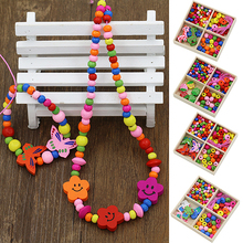 1 Box Multicolor Wooden Beads DIY Jewelry Necklaces Bracelets Making Handcraft 7UY A8ST