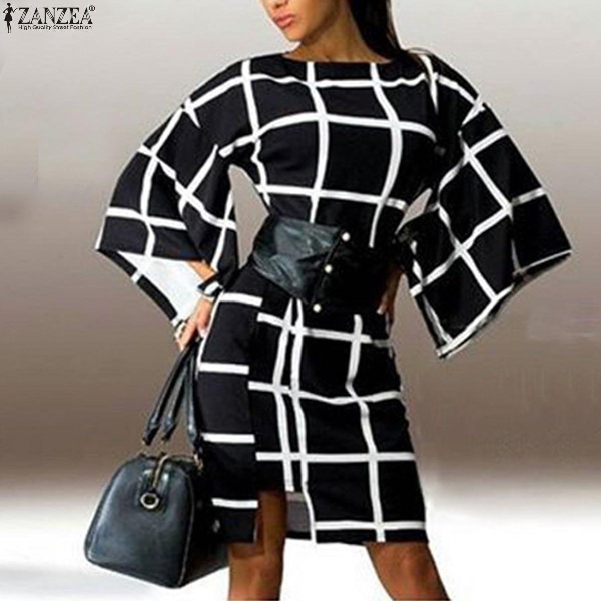2018 Őszi ZANZEA Női kockás ruha Retro fél ruha Női fáklya - Női ruházat