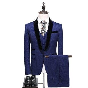 New gemstone blue men's suit wedding groom groomsmen dress three-piece suit (coat + pants + vest) men's business formal suit