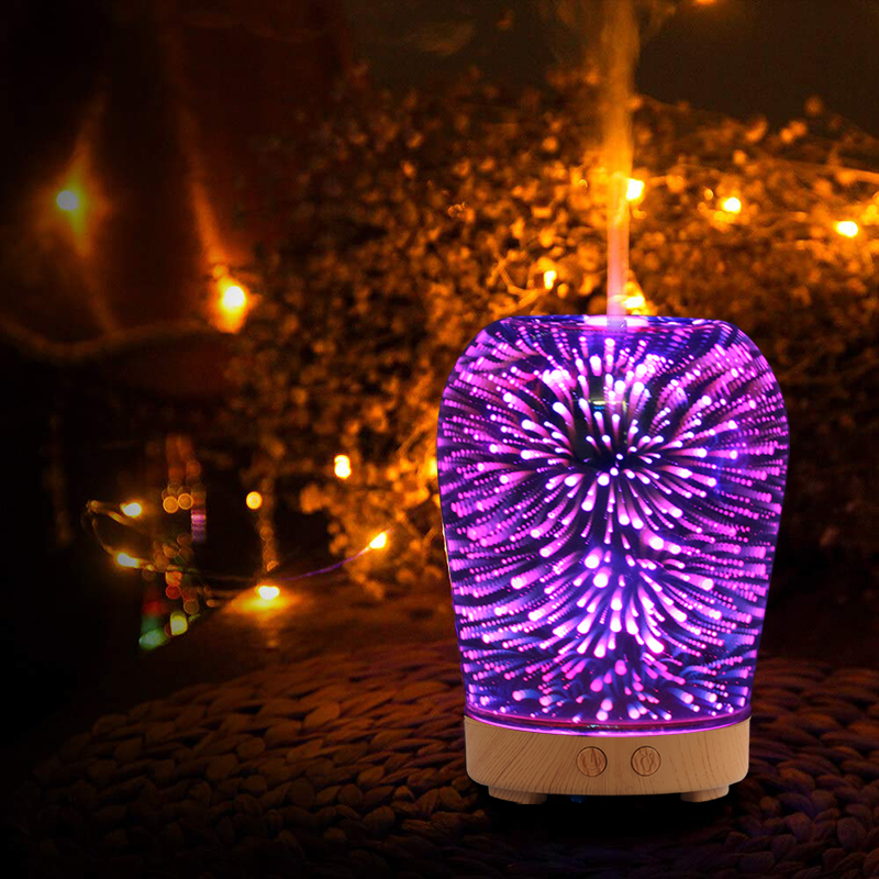 3D Glass Ultrasonic Air Humidifier Aroma Diffuser Essential Oil Diffuser