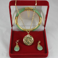 Women's Wedding noble 7.5' light green gem bracelet, earings, and dragon inlay jewelry sets for part silver mujer moda