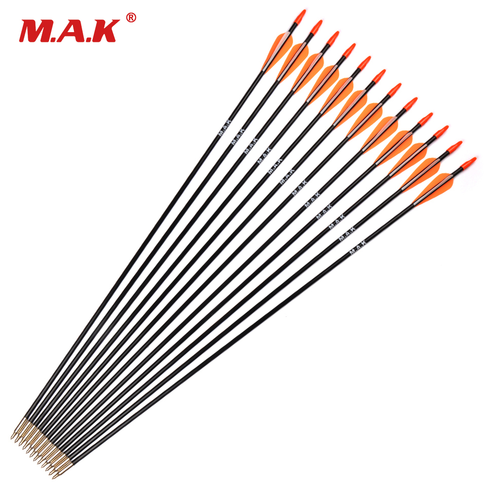 6/12/24/36 Pcs/lot 31 Inches Fiberglass Arrow Spine 700 Orange White Feather For Recurve Bow Long Bow Practice Archery Hunting