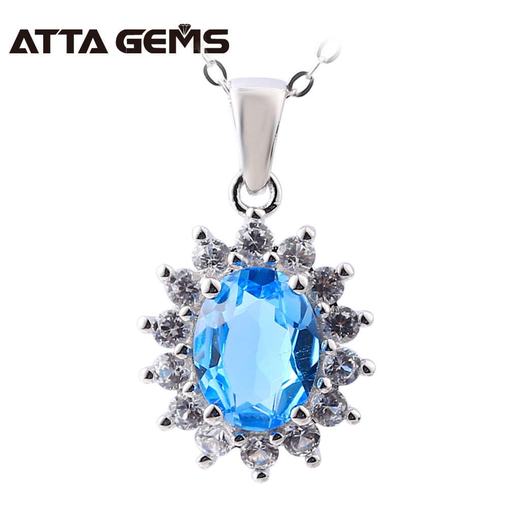 Natural Blue Topaz Sterling Silver Pendants For Women Wedding Engagement S925 Pendants 2 Carats Blue Topaz Silver Jewelry blue mind act upon mind s925 silver lovers necklace silver pendants page 5 page 8 page 6