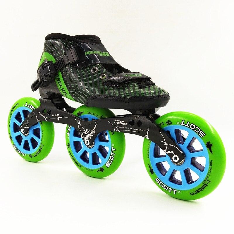 3 grandes ruedas patín en línea inline patinaje de velocidad 125mm patinaje patins hombres/mujeres velocidad patines en línea Patinaje