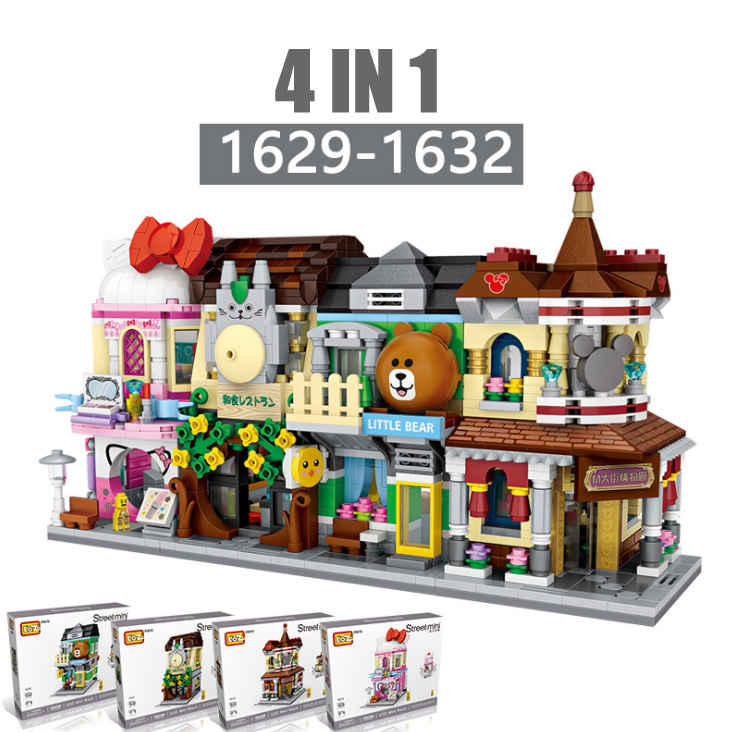 Mini Rua Mini Blocos Urso shopping loja de Conveniência loja de cosméticos