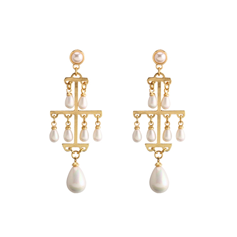 Wedding Earring Long Earrings Gold-Color Multilayer Imitation Pearl Earings  Jewelry
