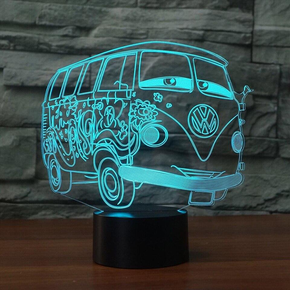 7 kolorów 3d wizualne Lampa iluzoryczna Camping autobus doprowadziły 3D, noc, lekki przezroczysty akryl LED Lampa Lampa stołowa dziecko śpiące oświetlenie