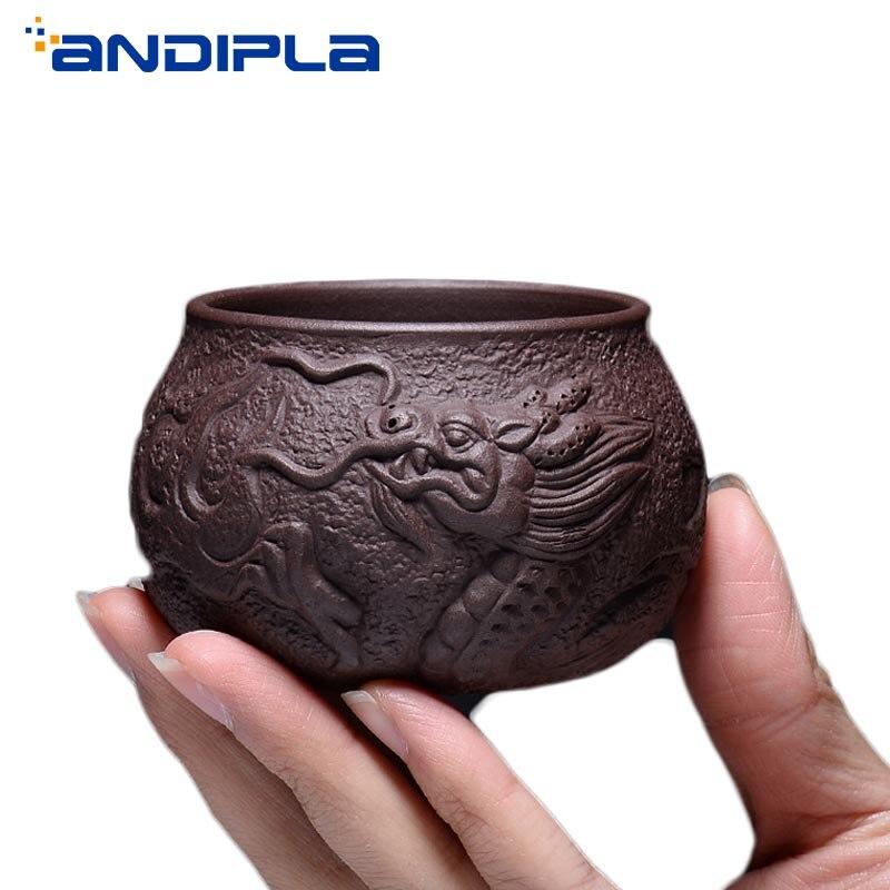 80/100ml Yixing Zisha Tea Set Tea Cup Handmade Carving Fish Dragon Tea Cup Master Cup Ceramic Teaware Drinkware Home Decor Gifts