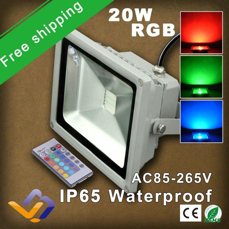 ФОТО 2pcs/lot free shipping 20W LED Flood Light RGB colorful Floodlight 110V 230V 220V Outdoor Landscape Lighting IR remote control