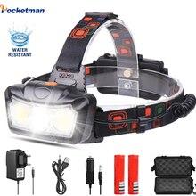 Super jasne LED reflektor T6 + COB LED reflektor lampa czołowa latarka latarka Lanterna Head light użyj 2*18650 baterii na kemping