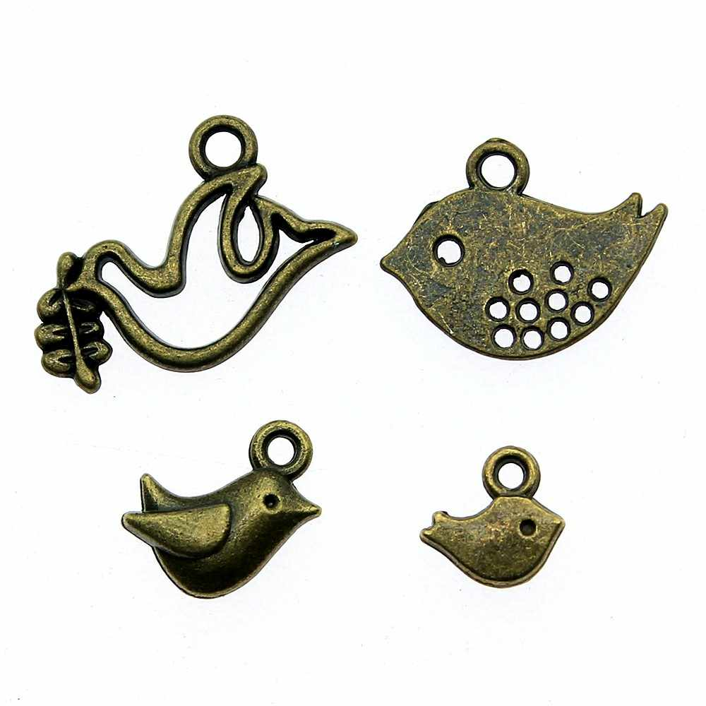 50pcs Antique Bronze Tiny Birds Charm Pendants Jewelry Making Birds Charms Cute Bird Charms