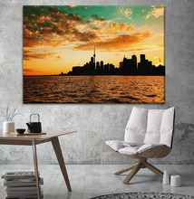 Canvas Painting Home Decor 1 Piece Sunset Toronto Canada City Buildings And Sea Poster Prints Type Living Room Wall Art Picture owl city toronto