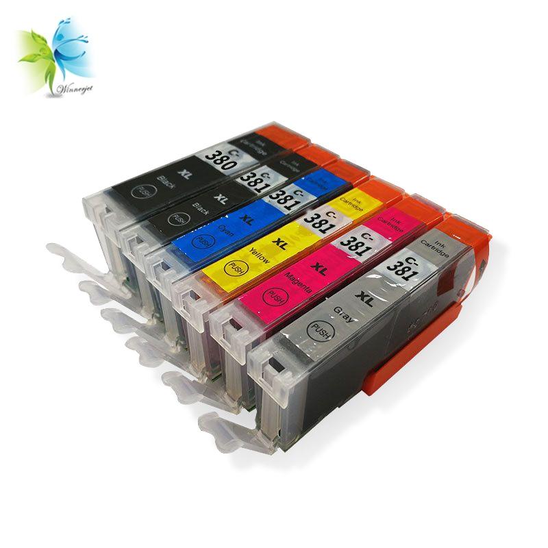 Winnerjet 5 Sets 6 Colors Compatible BCI-380 XL Ink Cartridges for Canon PIXMA TS8130 Printers