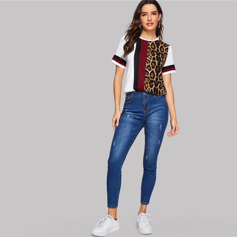 SHEIN Color Block Cut-and-Sew Leopard Panel Top Short Sleeve O-Neck Casual T Shirt Women 19 Summer Leisure Ladies Tshirt Tops 20