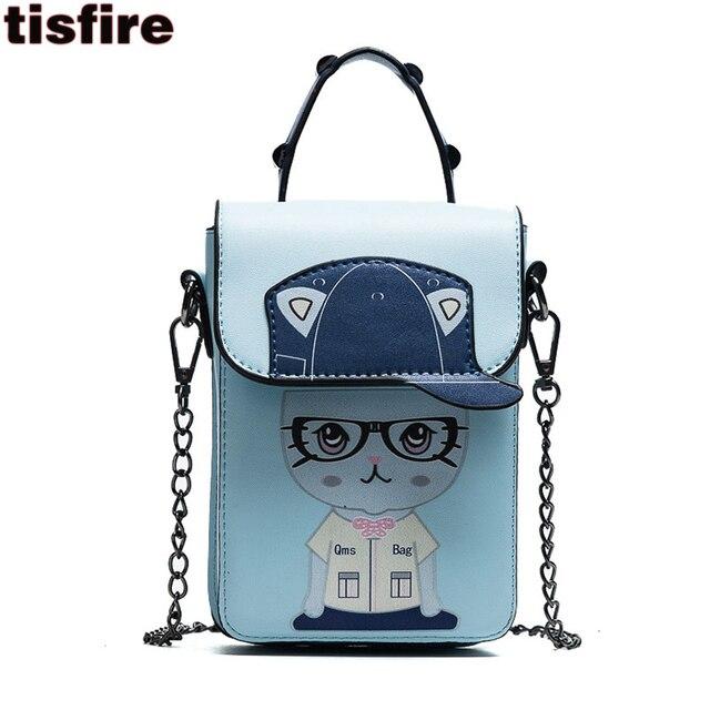 ae7fe3e5c3af Tisfire brand cute mobile phone bag cat printing crossbody bags for girls  fashion leather handbags women