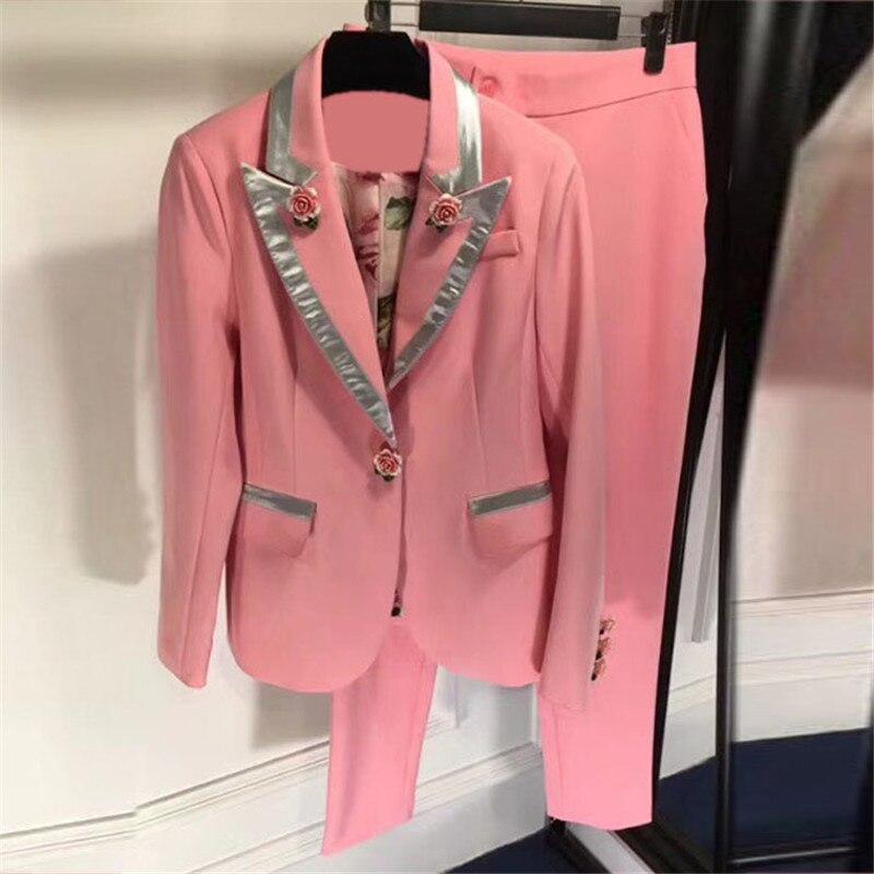 2 pcs set women pants sets 2018 pink pants set women long sleeve jacket and long pants suit