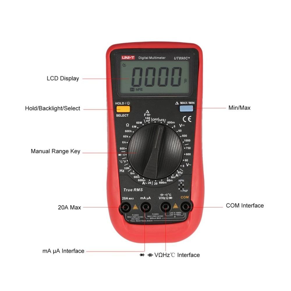 Digital Multimeter Multimeters Multi Meter Diode Tester UT890C+ True RMS C/F Temperature Capacitance Frequency with 6000 Counts