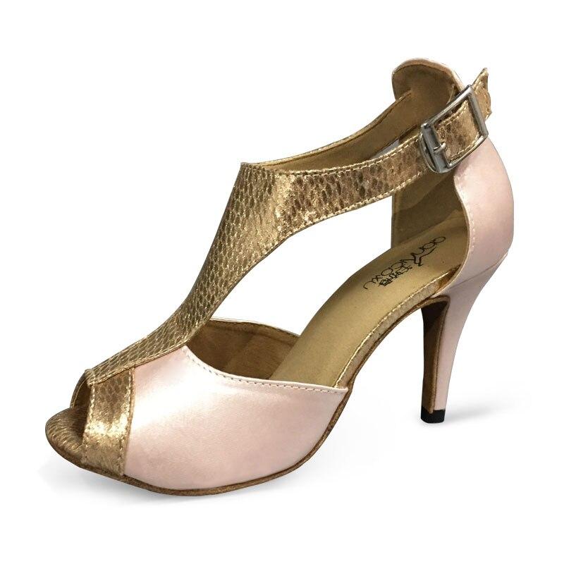 Women Latin Ballroom Dance Shoes PartyWedding Sasla Sandal Female Samba Kizomba Tango Dance Shoes in High-Heeled 6785cm T283