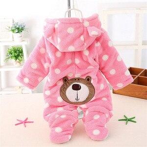 Image 2 - Pelele de oso bebé lindo Unisex, ropa de invierno grueso bebés, 3 colores para recién nacido, CL0430
