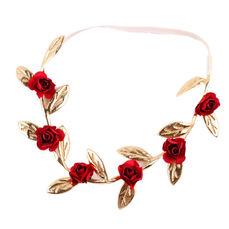 Headband Crown Floral Baby Garland Gold Leaves Hair Band Rose Flower Wreath