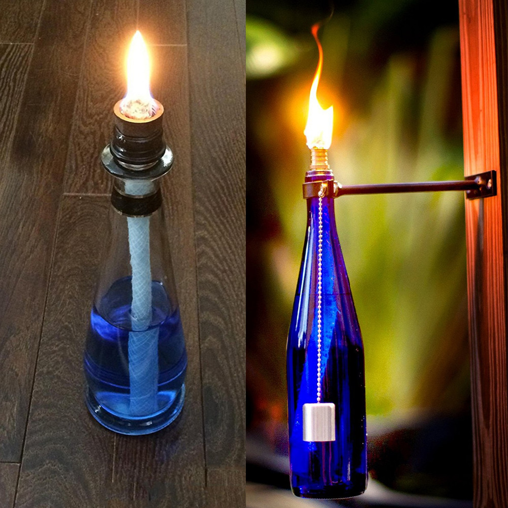 1M Long Round Cotton Wick Burner For Oil Kerosene Alcohol Lamp Torch Wine Bottle