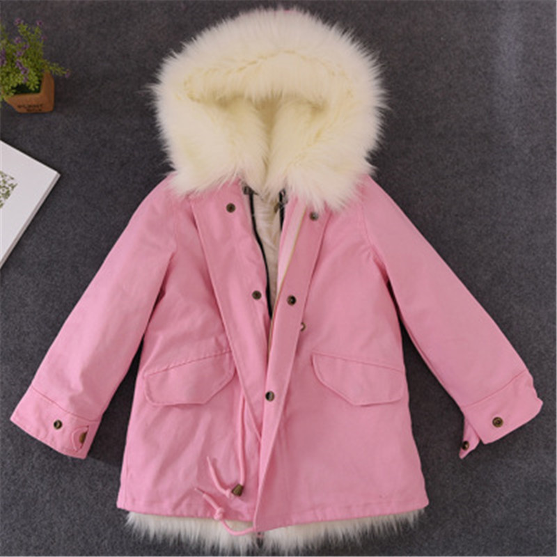 Girls Winter Coat Faux Fox Fur Liner Jackets Toddlers Children's Outerwear Baby Girl Thicken Warm Coat Parkas For Boys Coat Y43 все цены